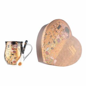 Skodelici z žličko Klimt Kiss Black 350ml